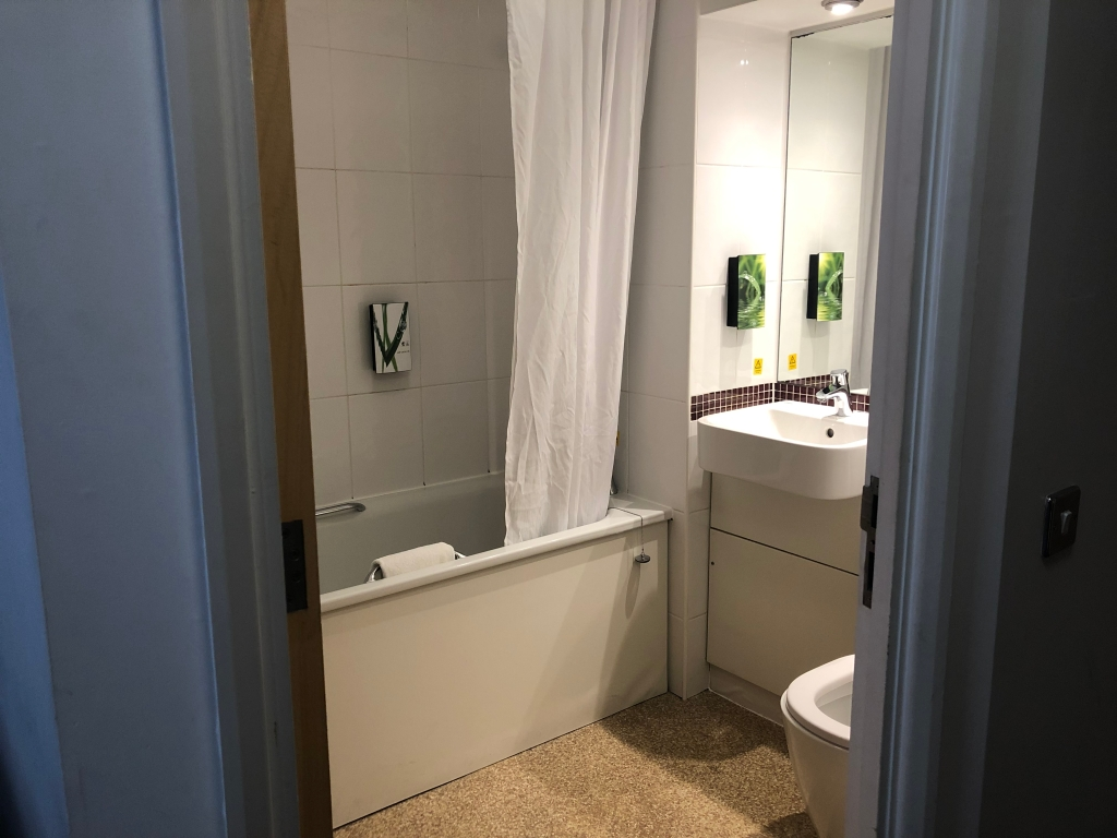 premier inn weymouth seafront bathroom with shower over bath