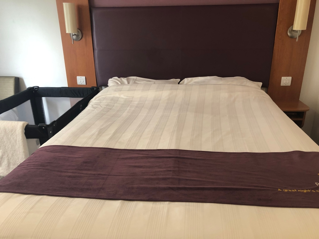 King Size bed at Premier Inn Weymouth Seafront in family room on ground floor
